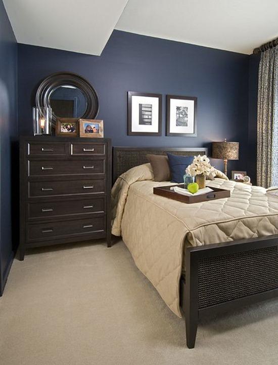 Спальня фото интерьера коричневый белый голубой