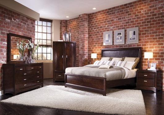 Дизайн спальни из кирпича
