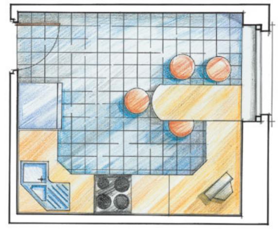 Интерьер кухни с планировка
